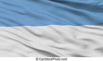 Closeup Puno city flag, Peru - Puno closeup flag, city of...