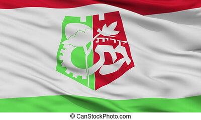 Closeup Qiryat Gat city flag, Israel - Qiryat Gat closeup...