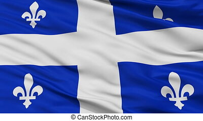 Quebec closeup flag, city of Canada, realistic animation seamless loop - 10 seconds long