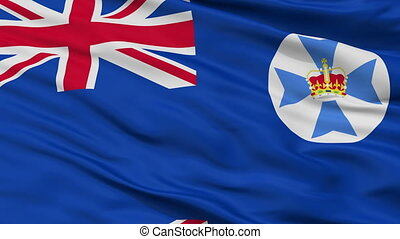 Closeup Queensland city flag, Australia - Queensland closeup...