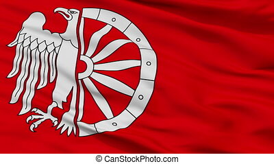 Closeup Raciborz city flag, Poland - Raciborz closeup flag,...