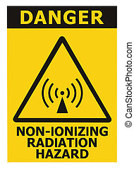 closeup, radiation, macro, danger, signage, étiquette, isolé, icône, signe, jaune, secteur, avertissement, danger, grand, non-ionizing, sécurité, sur, texte, noir, autocollant, triangle