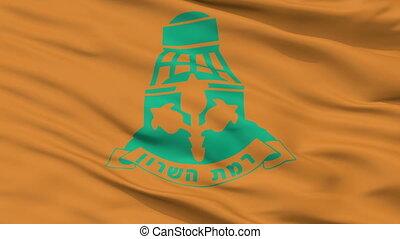 Closeup Ramat HaSharon city flag, Israel - Ramat HaSharon...