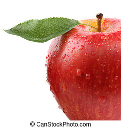 Closeup red apple fruit with leaf isolated