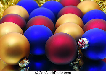 Red Blue Gold Christmas Balls