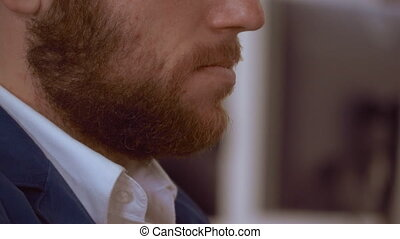 closeup redheaded bearded guy - close up unrecognizable man ...