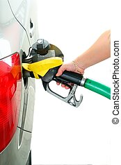 Closeup refuel gasoline in gas-station on white background