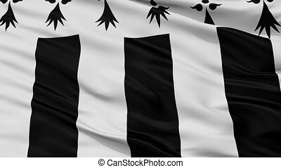Closeup Rennes city flag, France - Rennes closeup flag, city...