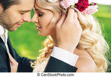 closeup, retrato, de, a, casamento, par