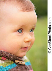 closeup, retrato, de, bebê
