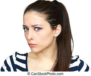 closeup, retrato, de, bonito, zangado, mulher jovem, com, cabelo longo, isolado, branco, fundo