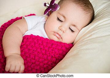 closeup, retrato, de, dormir, bebê