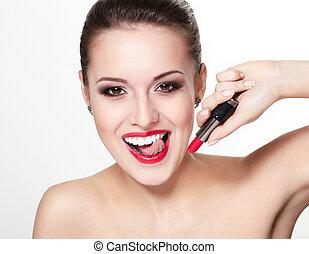 closeup, retrato, de, excitado, sorrindo, caucasiano, mulher...