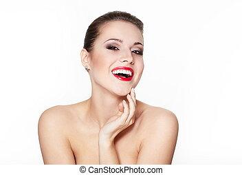 closeup, retrato, de, excitado, sorrindo, caucasiano, mulher jovem, modelo, com, glamour, lábios vermelhos, maquilagem, olho, seta, maquilagem, pureza, complexion., perfeitos, limpo, skin.white, dentes