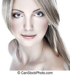 closeup, retrato, de, excitado, whiteheaded, mulher jovem, com, bonito, olhos azuis, branco, fundo