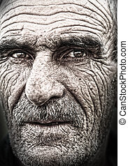 closeup, retrato, de, homem velho, enrugado, idoso, pele,...