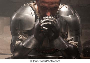 closeup, retrato, de, medieval, armadura