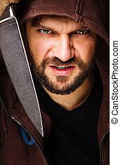closeup, retrato, de, um, ameaçar, homem, com, barba, segurando, um, faca, em, seu, cedam, experiência cinza