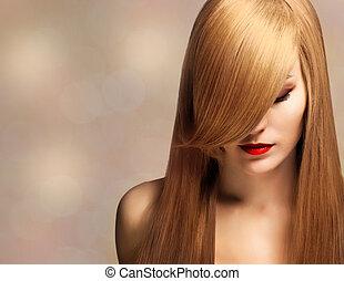 closeup, retrato, de, um, bonito, mulher jovem, com, elegante, longo, brilhante, cabelo