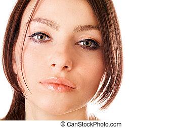 closeup, retrato, de, um, encantador, mulher jovem