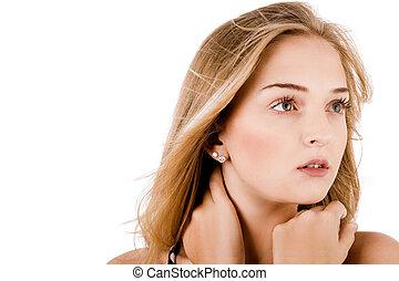 closeup, retrato, de, um, jovem, mulheres bonitas