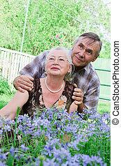 closeup, retrato, de, um, sorrindo, par ancião