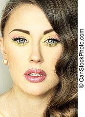 closeup, retrato, lady., morena