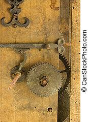 closeup retro wooden clock grunge mechanism gear