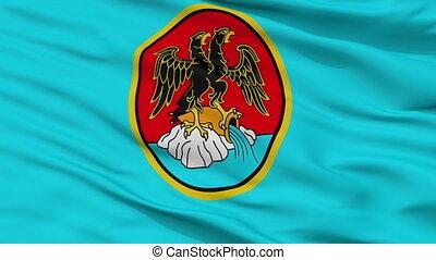Closeup Rijeka city flag, Croatia - Rijeka closeup flag,...
