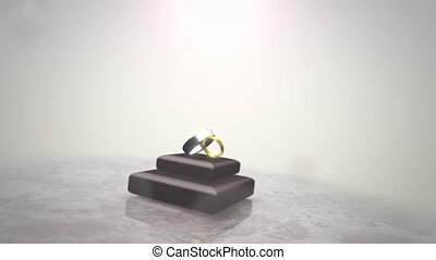 Closeup rings of love on wedding date, motion background
