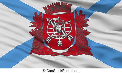 Closeup Rio de Janeiro city flag, Brasil - Rio de Janeiro...