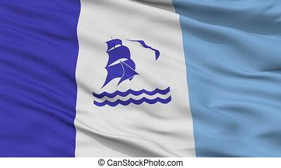 Closeup Rio Gallegos city flag, Argentina