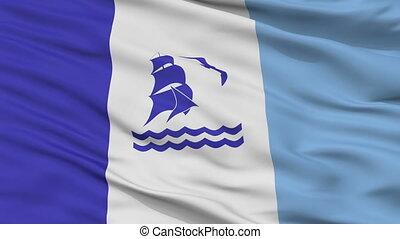 closeup, rio, gallegos, stad, vlag, argentinië