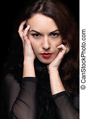 closeup, ritratto, di, misterioso, giovane, woman., isolato
