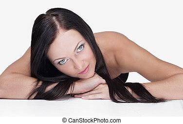 closeup, ritratto, di, uno, brunetta, donna guardando, a, il, macchina fotografica