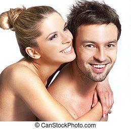 closeup, ritratto, di, uno, sorridere felice, coppia