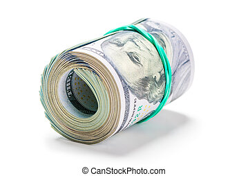 closeup roll of 100 american dollars tied up with rubber band isolated on white background