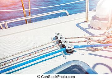 Closeup Ropes Organiser in a Sailing Boat
