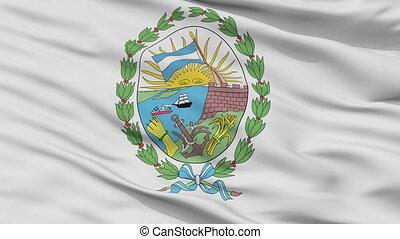 Closeup Rosario city flag, Argentina