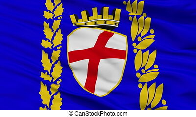 Closeup Rovinja city flag, Croatia - Rovinja closeup flag,...