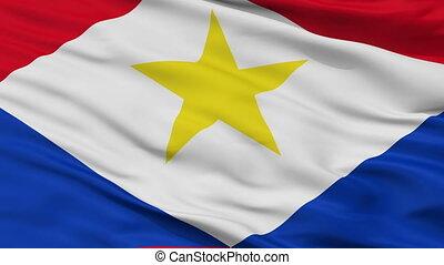 Closeup Saba city flag, Netherlands - Saba closeup flag,...