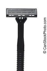 razor - closeup safety razor on white background.