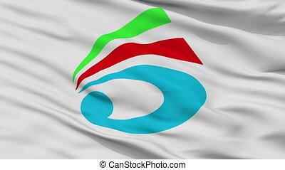 Closeup Saiki city flag, prefecture Oita, Japan - Saiki...
