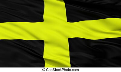 Closeup Saint David city flag, UK - Saint David closeup...