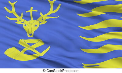 Closeup Saint Hubert city flag, Belgium - Saint Hubert...