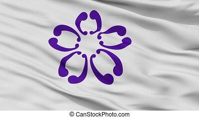 Closeup Sakura city flag, prefecture Chiba, Japan - Sakura...