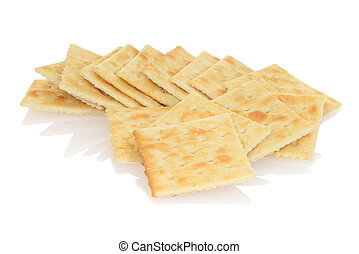 closeup salted crackers