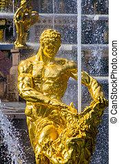 Closeup Samson Fountain in Peterhof, Russia