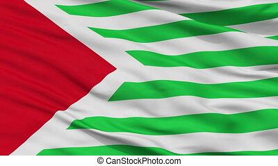 Closeup San Antonio del Tequendama city flag, Colombia - San...
