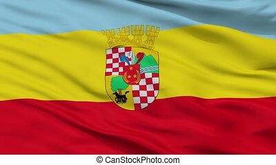 Closeup San Bernardo city flag, Chile - San Bernardo closeup...